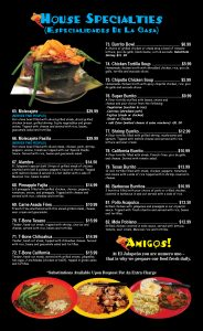 El Jalapeno Youngstown Mexican Restaurant Menu